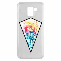 Чехол для Samsung J6 Watercolor flower in a geometric frame