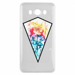 Чехол для Samsung J7 2016 Watercolor flower in a geometric frame