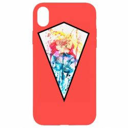 Чехол для iPhone XR Watercolor flower in a geometric frame
