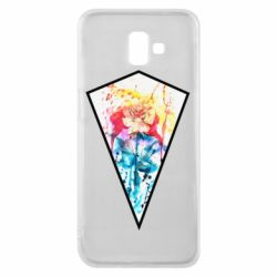 Чехол для Samsung J6 Plus 2018 Watercolor flower in a geometric frame