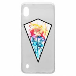 Чехол для Samsung A10 Watercolor flower in a geometric frame