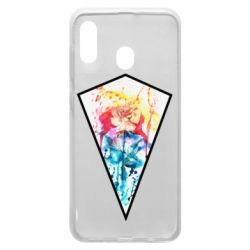 Чехол для Samsung A30 Watercolor flower in a geometric frame