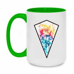 Кружка двухцветная 420ml Watercolor flower in a geometric frame