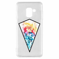 Чехол для Samsung A8 2018 Watercolor flower in a geometric frame