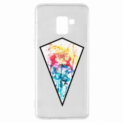 Чехол для Samsung A8+ 2018 Watercolor flower in a geometric frame