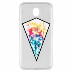 Чехол для Samsung J7 2017 Watercolor flower in a geometric frame
