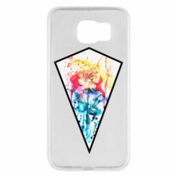 Чехол для Samsung S6 Watercolor flower in a geometric frame