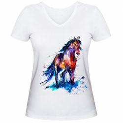 Женская футболка с V-образным вырезом Watercolor horse