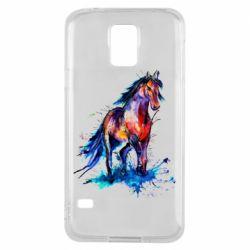 Чехол для Samsung S5 Watercolor horse