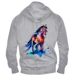 Мужская толстовка на молнии Watercolor horse