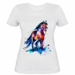 Женская футболка Watercolor horse