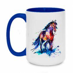 Кружка двухцветная 420ml Watercolor horse