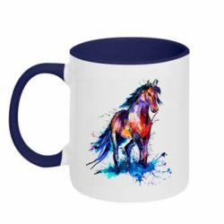 Кружка двухцветная 320ml Watercolor horse