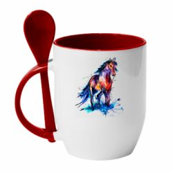 Кружка с керамической ложкой Watercolor horse