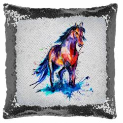 Подушка-хамелеон Watercolor horse