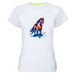 Женская спортивная футболка Watercolor horse