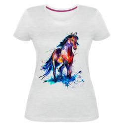 Женская стрейчевая футболка Watercolor horse