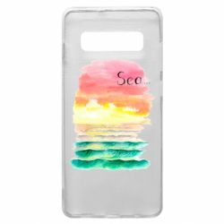 Чехол для Samsung S10+ Watercolor pattern with sea