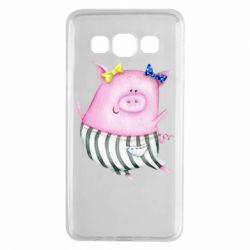 Чехол для Samsung A3 2015 Watercolor Pig with paper texture