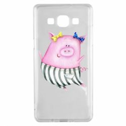 Чехол для Samsung A5 2015 Watercolor Pig with paper texture