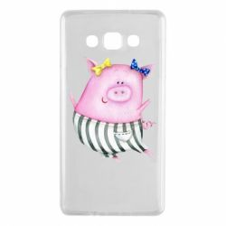 Чехол для Samsung A7 2015 Watercolor Pig with paper texture