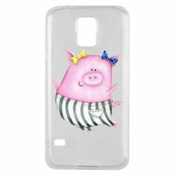 Чехол для Samsung S5 Watercolor Pig with paper texture
