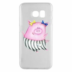Чехол для Samsung S6 EDGE Watercolor Pig with paper texture