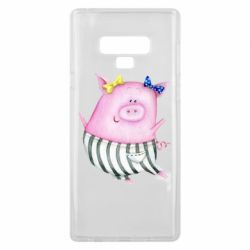 Чехол для Samsung Note 9 Watercolor Pig with paper texture