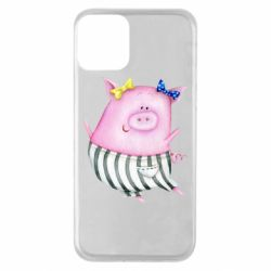 Чехол для iPhone 11 Watercolor Pig with paper texture