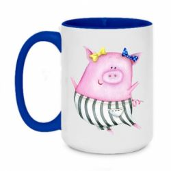 Кружка двухцветная 420ml Watercolor Pig with paper texture