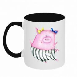 Кружка двухцветная 320ml Watercolor Pig with paper texture