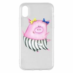 Чехол для iPhone X/Xs Watercolor Pig with paper texture