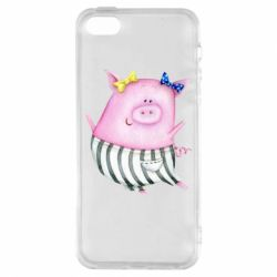Чехол для iPhone5/5S/SE Watercolor Pig with paper texture