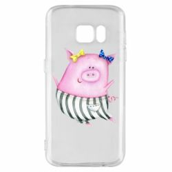 Чехол для Samsung S7 Watercolor Pig with paper texture