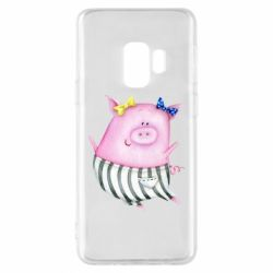 Чехол для Samsung S9 Watercolor Pig with paper texture
