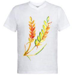 Чоловіча футболка з V-подібним вирізом Watercolor spikelets