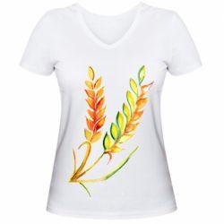 Жіноча футболка з V-подібним вирізом Watercolor spikelets