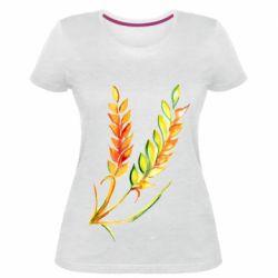 Жіноча стрейчева футболка Watercolor spikelets