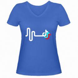 Жіноча футболка з V-подібним вирізом Wave tik tok