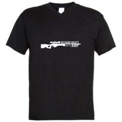Мужская футболка  с V-образным вырезом We know what's awp