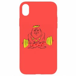Чехол для iPhone XR Weightlifter caricature