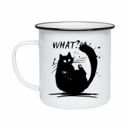 Кружка емальована What cat