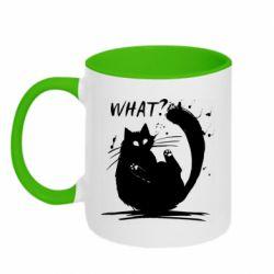 Кружка двоколірна 320ml What cat