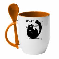 Кружка з керамічною ложкою What cat