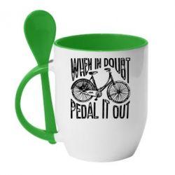 Кружка з керамічною ложкою When in doubt pedal it out