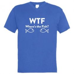 Мужская футболка  с V-образным вырезом Where is The Fish