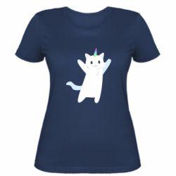 Жіноча футболка White cheerful cat