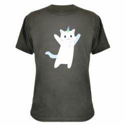 Камуфляжна футболка White cheerful cat