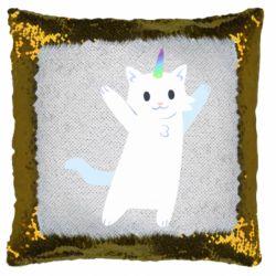 Подушка-хамелеон White cheerful cat