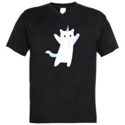 Чоловіча футболка з V-подібним вирізом White cheerful cat